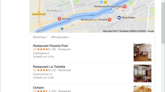 Auf unserem Bild zielt deine lokale Suchanfragen nach einer Pizzeria in Rheinfelden